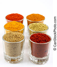 rows of spicy powders