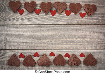 Two rows of sweet chocolate hearts