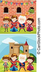 Two royal families at the castle illustration