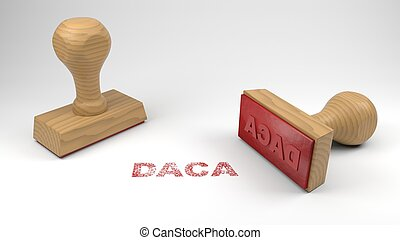 Two rubber stamps with the word DACA and a stamp on white immigration concept 3D illustration
