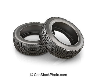 Two rubber tire, isolated on white background