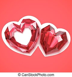 two ruby hearts vector angular illustration