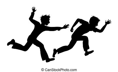 two running boy on white background