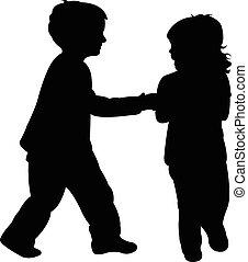 two running children on white background vector