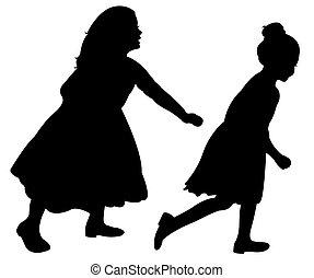 two running children on white