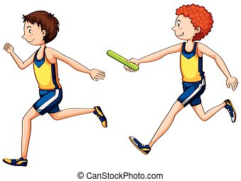 Two running doing relay race illustration