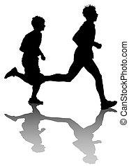 Two running men race