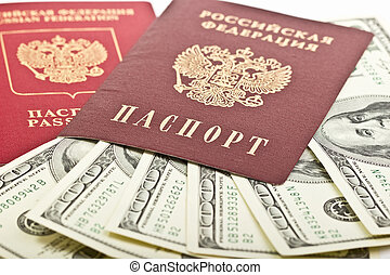 Two Russian passport with American dollars
