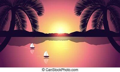 two sailboats on a calm sea with palm trees at sunrise