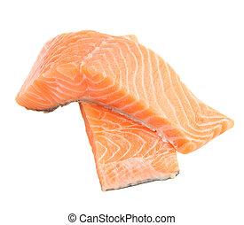 two salmon steaks