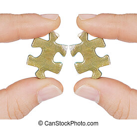 Two same pieces of puzzle that do not fit isolated over white
