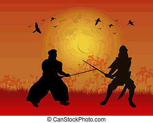 Two samurai fighter silhouettes on red sunset, vector...
