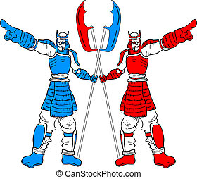 Two samurais - Creative design of two samurais