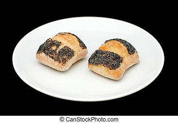 Two sandwich buns with poppy
