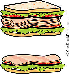 Two sandwiches - Vector illustration. It is created in the ...