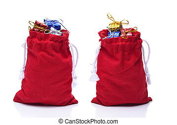 Santa Claus Bags filled with wrapped presents
