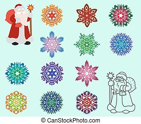 Two Santa Claus in different styles, color and contour and a set of isolated colored snowflakes