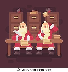 two santa clauses writing letters to kids santa thinking of a response to a childs
