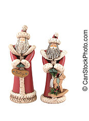 Two Santa figures isolated