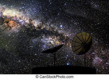 two satellite disk galaxy, Elements of this image furnished by NASA