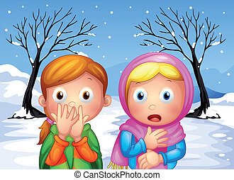 Two scared little girls - Illustration of the two scared...
