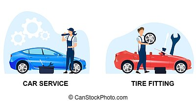 Two scenes from an automobile maintenance centre or workshop...
