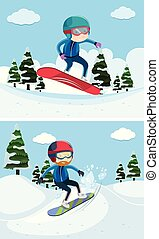 Two scenes with people snowboarding