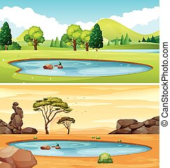 Two scenes with the pond illustration