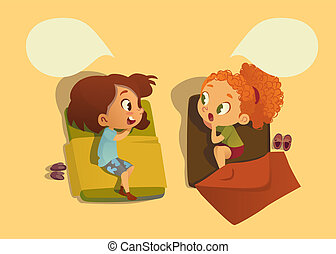 Two school girls talking to each other and gossipping duaring nap time in the bedroom. Speech bubble. Two girls telling secret to each other. on white background illustration
