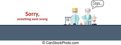Two scientists conducting test in laboratory. Text warning message, sorry something went wrong. Oops 404 error page, vector template for website. Colored flat vector illustration. Horizontal.
