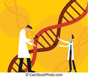Two scientists fixing dna