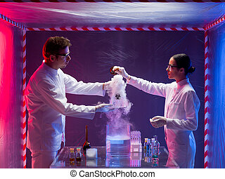 two scientists mixing chemicals in a laboratory