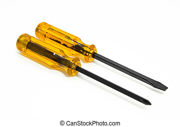 Two screwdriver on white background