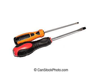 Two screwdrivers isolated on a white background