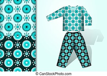 Two seamless backgrounds and pattern with flower ornament and pajamas layout design concept for fabric and print paper