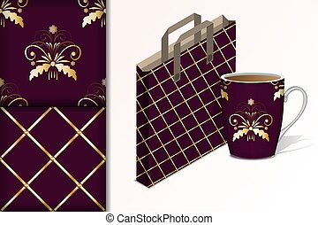Two seamless patterns Bag and cup and mock up with gold patterns Concept for design of fabric and paper for printing