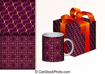 Two seamless patterns Gift and mug and mock up with golden geometric patterns Concept for design of fabric and paper for printing