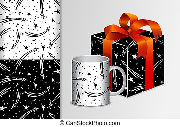 Two seamless patterns Gift and mug and mock up with starlets Concept for design of fabric and paper for printing
