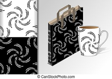 Two seamless patterns Package for purchases and a mug and mock up with starlets Concept for design of fabric and paper for printing