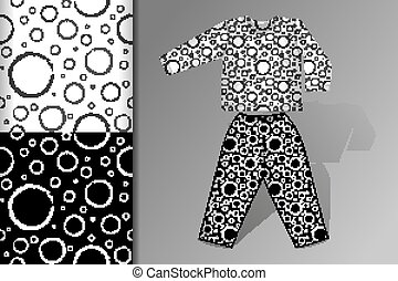 Two seamless patterns Pajamas and mock up with flying balls Concept for design of fabric and paper for printing