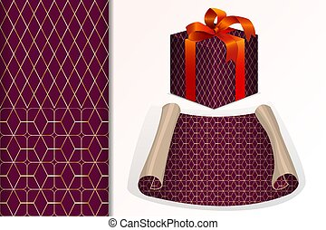 Two seamless patterns Paper roll and gift and mock up with geometric patterns Concept for design of fabric and paper for printing