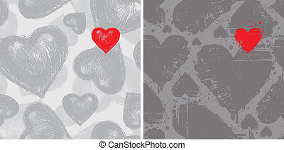 Two seamless vector background with Valentines hearts