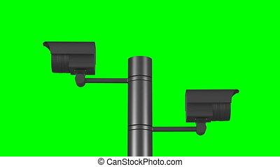 two security cameras on white background. Isolated 3D ...