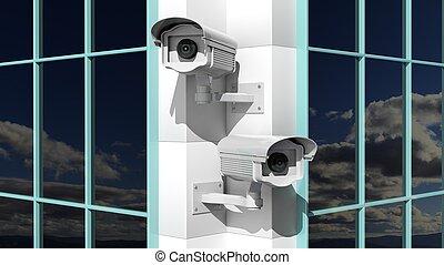 Two security surveillance cameras on skyscraper building