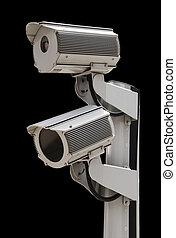Two security surveillance cameras,