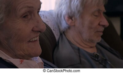 Two senior adults having an intimate conversation - close up...