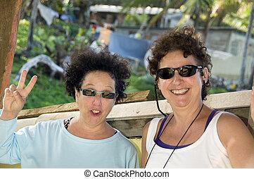 middle age female tourists Corn Island Nicaragua