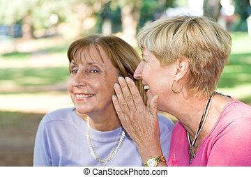 senior woman gossip