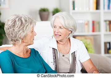 Two senior women chatting in the living room sitting...