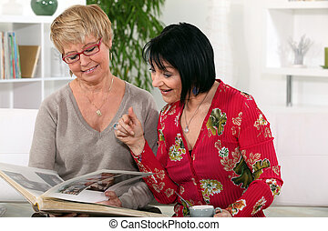 two senior women spending time together